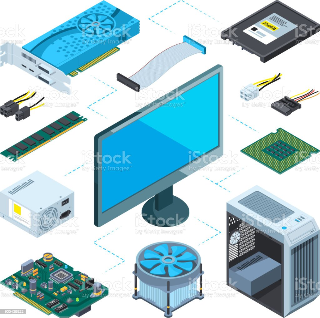 Isometric illustrations of computer hardware. Vector pictures set royalty-free isometric illustrations of computer hardware vector pictures set stock illustration - download image now