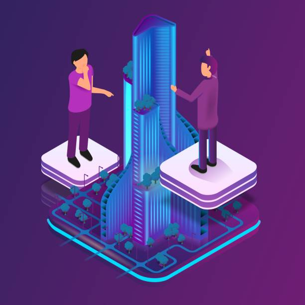 Isometric Image Augmented Reality for Architect Isometric Image Augmented Reality for Architect. Vector Illustration Group Architect Working on Hologram Skyscraper Project. Man and Woman Engineer. Augmented Virtual Reality to Work flat physical description stock illustrations