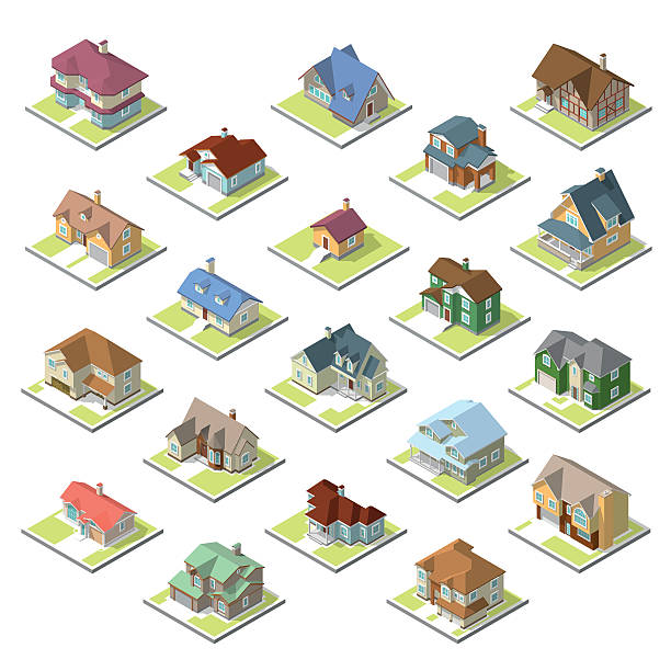 illustrations, cliparts, dessins animés et icônes de isometric image of a private house set - starting block