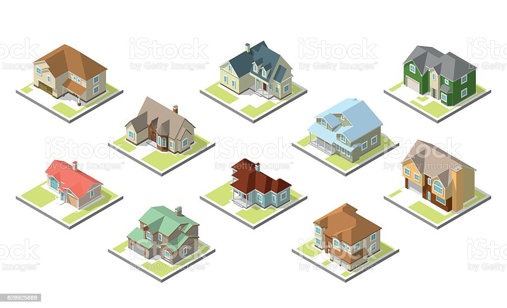 isometric image of a private house set vector art illustration