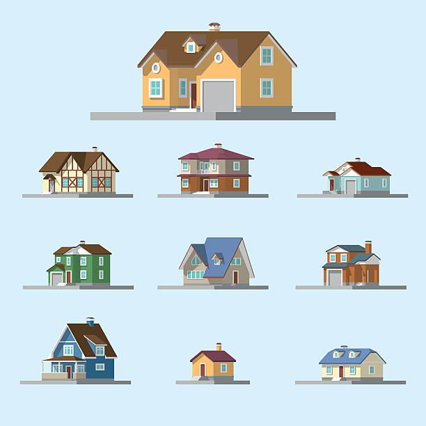 isometrische bild eines privaten hauses - villas stock-grafiken, -clipart, -cartoons und -symbole