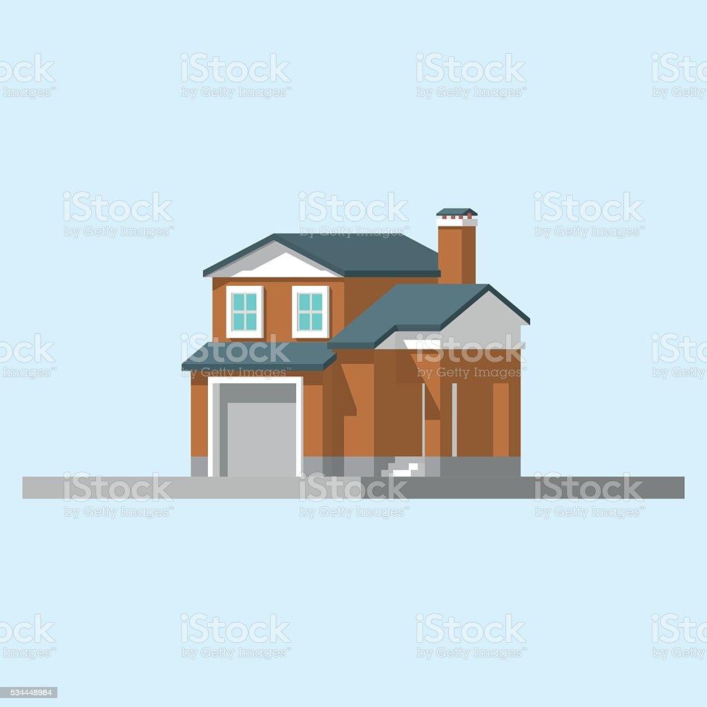 Изометрические изображение Частный дом векторная иллюстрация