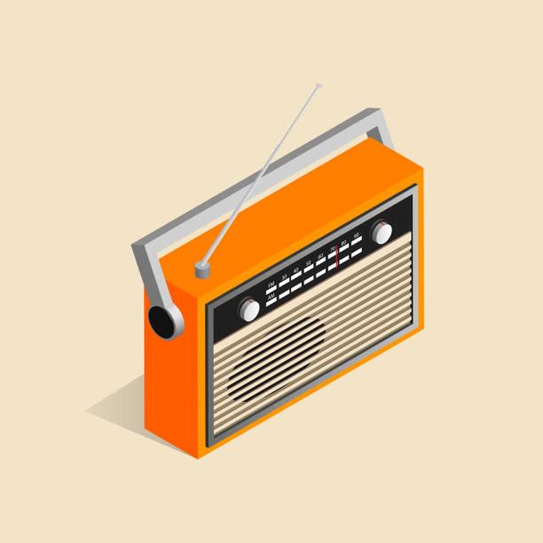 illustrations, cliparts, dessins animés et icônes de image isométrique d'une vieille radio rétro. - radio
