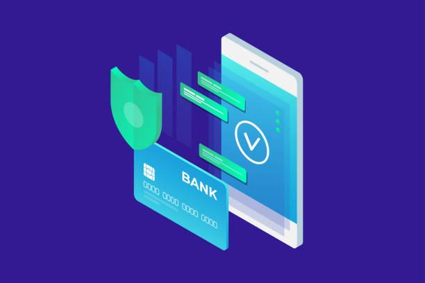 stockillustraties, clipart, cartoons en iconen met isometrische beeld van telefoon en bankkaart op blauwe achtergrond. concept van mobiele betalingen, bescherming van persoonsgegevens. - mobiele betaling