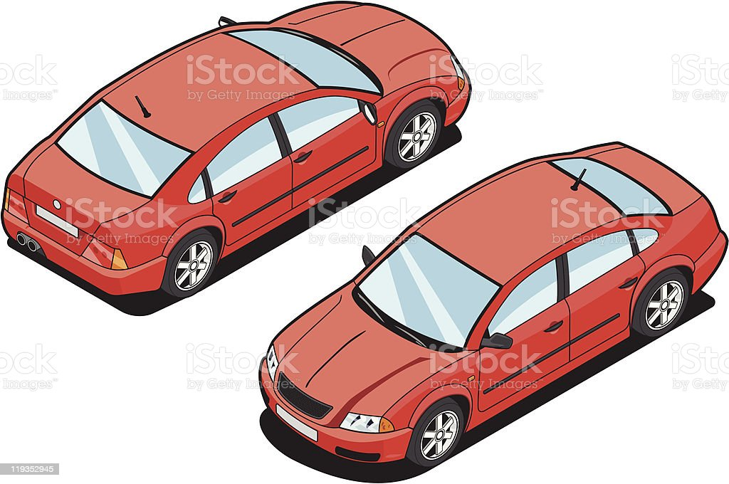Isometric image of red car and white background royalty-free stock vector art
