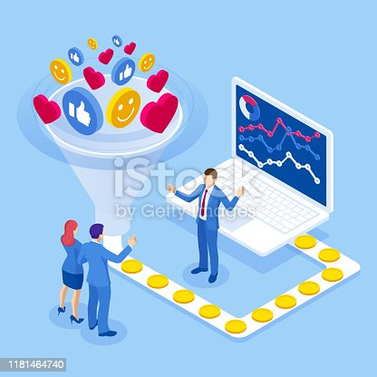Isometric increasing conversion rates strategy. Data monetization, monetizing of data services, selling of data analysis concept