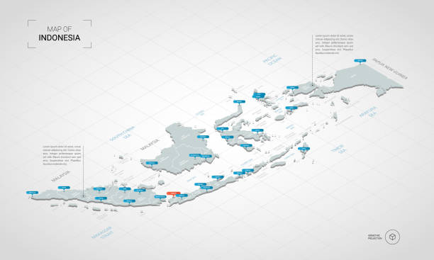 Isometric Indonesia map with city names and administrative divisions. Isometric  3D Indonesia map. Stylized vector map illustration with cities, borders, capital, administrative divisions and pointer marks; gradient background with grid. indonesia stock illustrations