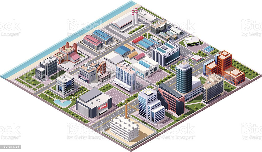 Isometric industrial and business city district map vector art illustration