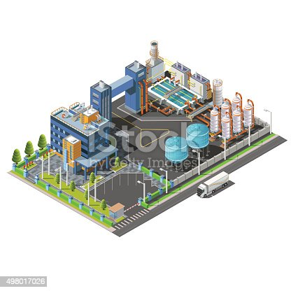 Isometric Industrial area, plant, hydroelectric, water purifying system construction. Isolated vector 3D isometric concept. Vector icon set of buildings, pipes, boilers and water.