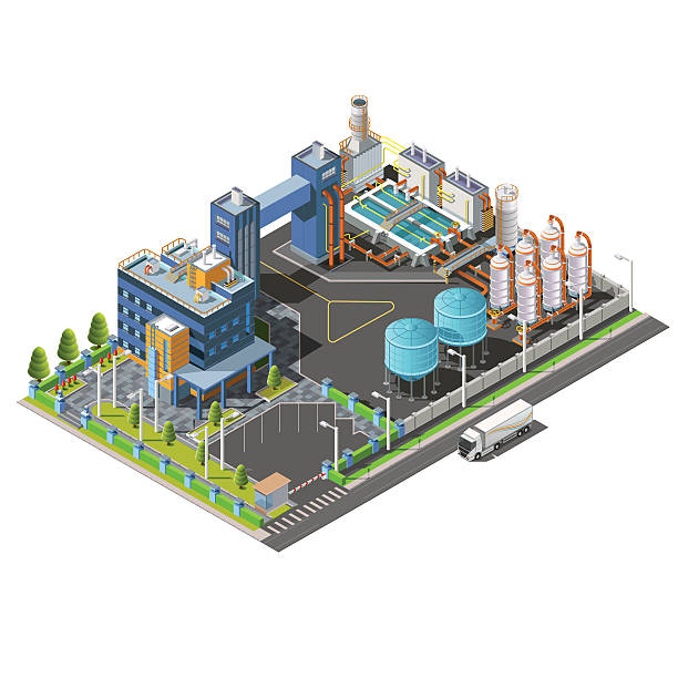 ilustraciones, imágenes clip art, dibujos animados e iconos de stock de isométricos zona industrial, planta hidroeléctrica - infografías de industria