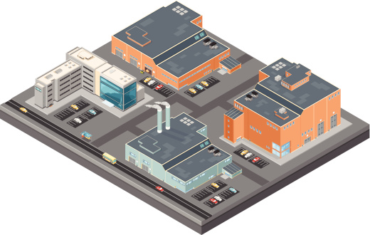 Isometric Industrial Buildings and offices