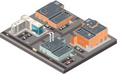 A vector illustration of a large detailed isometric industrial estate with a factory, warehouse and office buildings. As well as public and private transport.