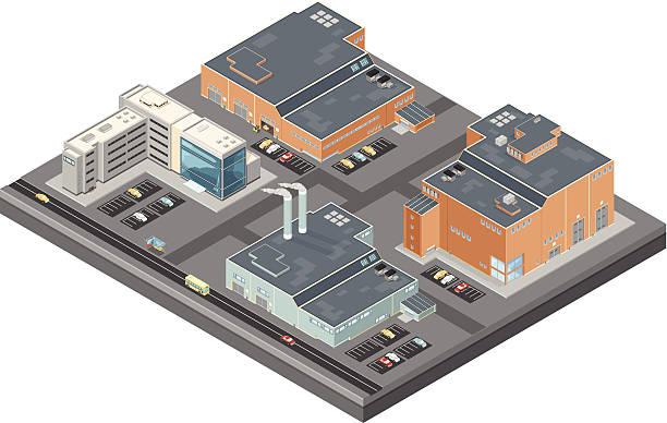 illustrations, cliparts, dessins animés et icônes de bâtiments isométrique industriel et des bureaux - infographie industrie manufacture production