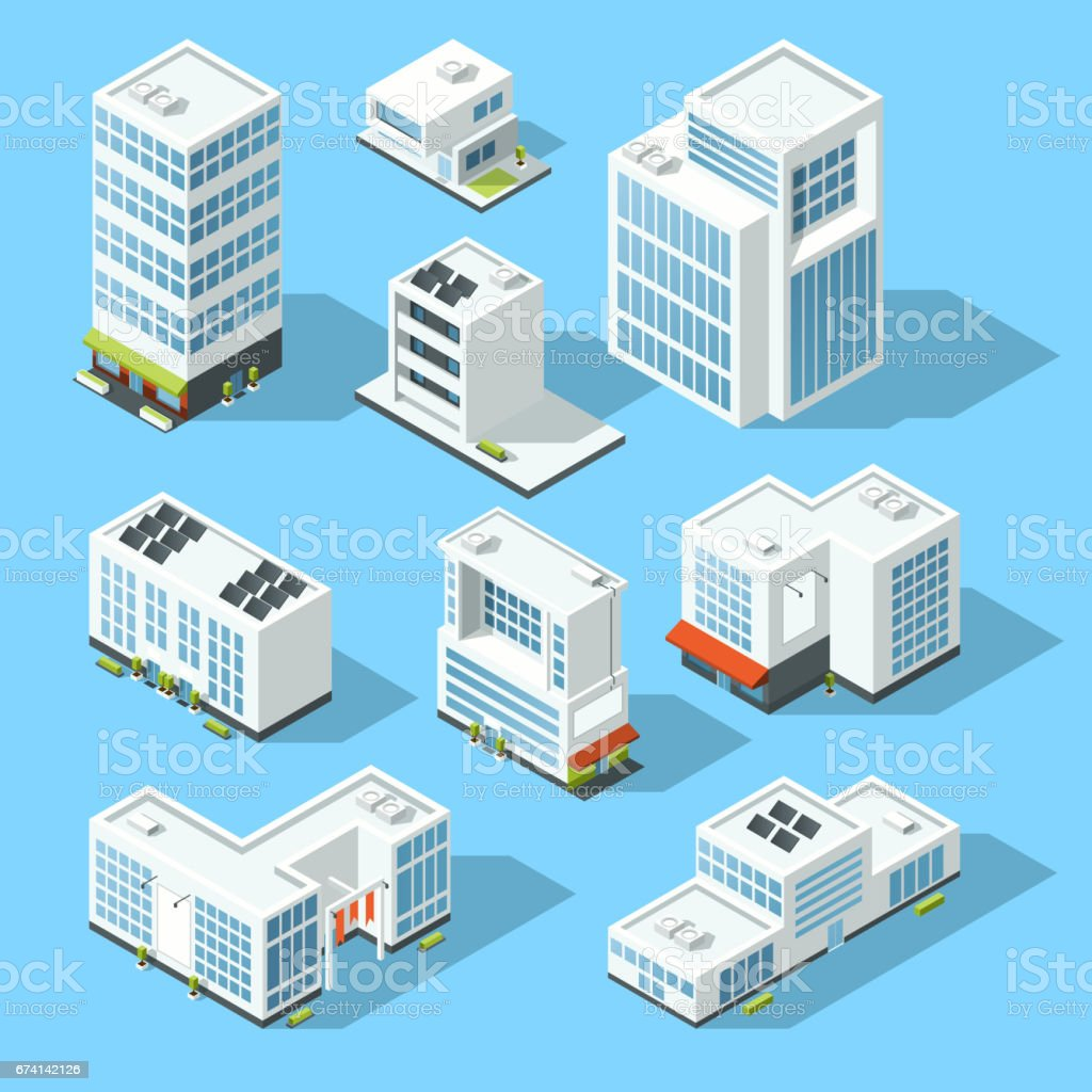 Isometric industrial buildings, offices and manufactured houses. 3d map vector illustration set vector art illustration