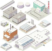 A set of high-detail icons includes illustrations of factories, a power plant, warehouses, small industry, large industry, tanks, and other equipment. Vectors are provided in isometric view.