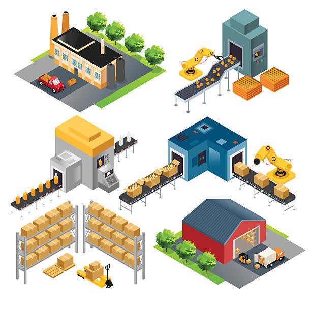 Isometric industrial factory buildings vector art illustration