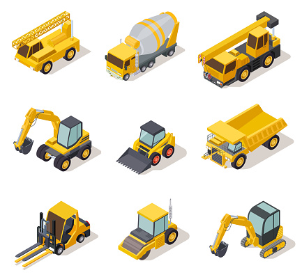 Isometric industrial machinery. 3d construction equipment truck vehicle power tools heavy machine excavator bulldozer map vector set