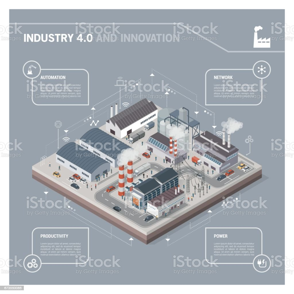 Isometric industrial park infographic vector art illustration