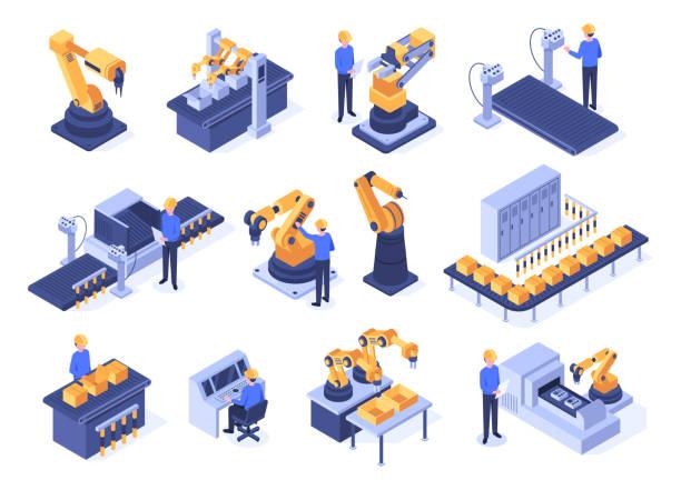 izometryczne roboty przemysłowe. maszyny linii montażowej, ramiona robotów z inżynierami i technologie produkcyjne zestaw wektorowy 3d - produkować stock illustrations