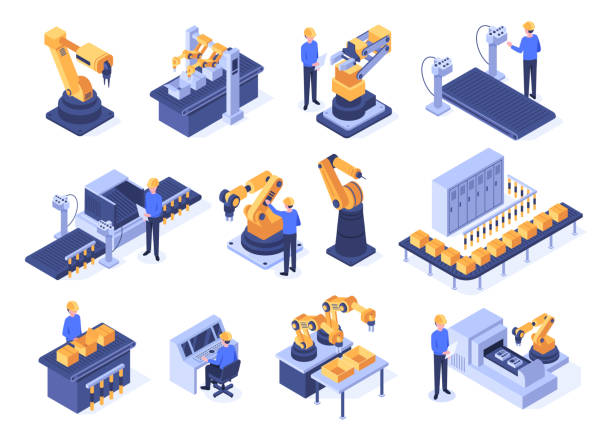 Isometric industrial robots. Assembly line machines, robotic arms with engineer workers and manufacturing technologies 3d vector set Isometric industrial robots. Assembly line machines, robotic arms with engineer workers and manufacturing technologies. Mechanic industry factory scanner. Isolated 3d vector icons set factory stock illustrations