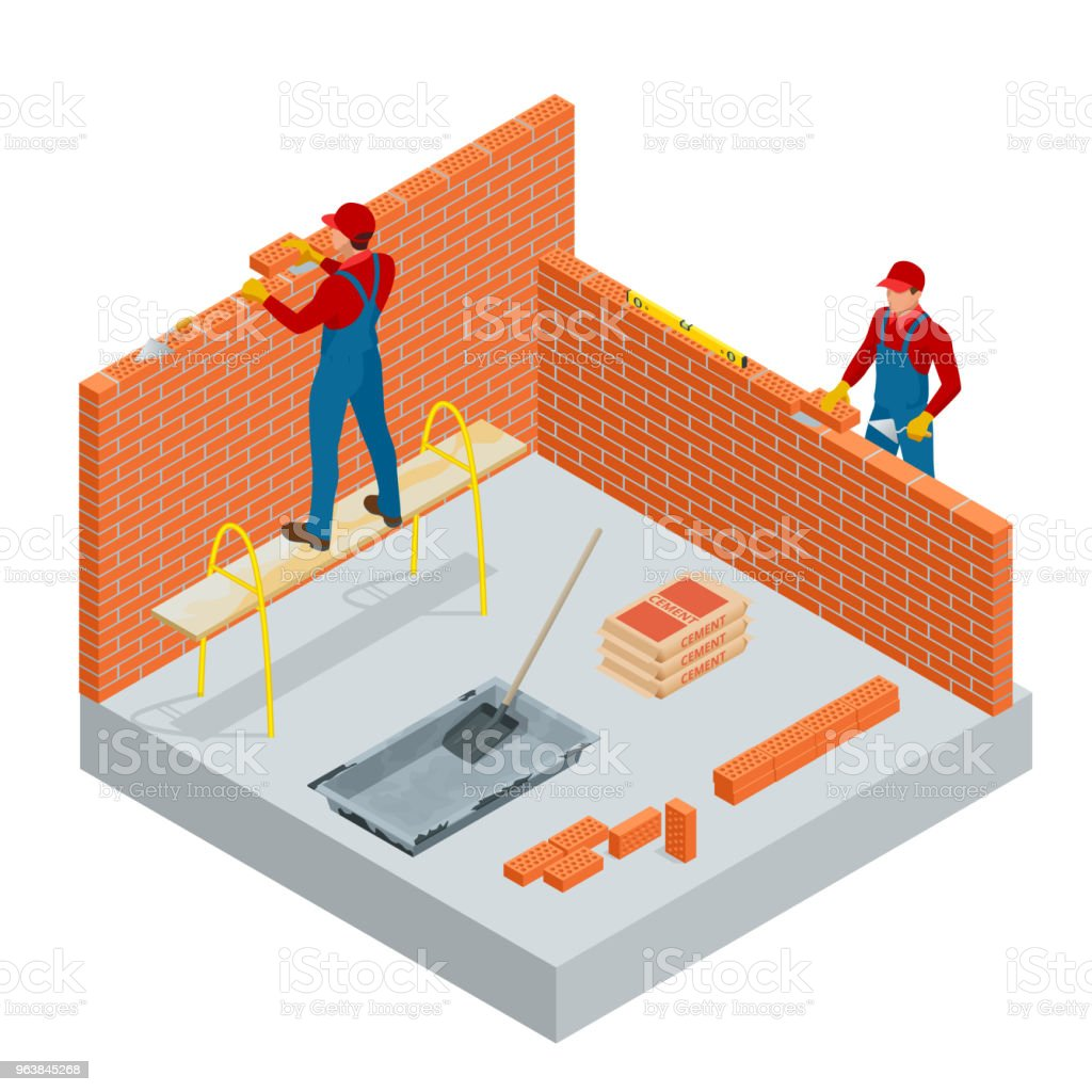 Isometric industrial worker building exterior walls, using hammer and level for laying bricks in cement. Construction building industry, new home. Workers with tools vector illustration. - Royalty-free Adult stock vector
