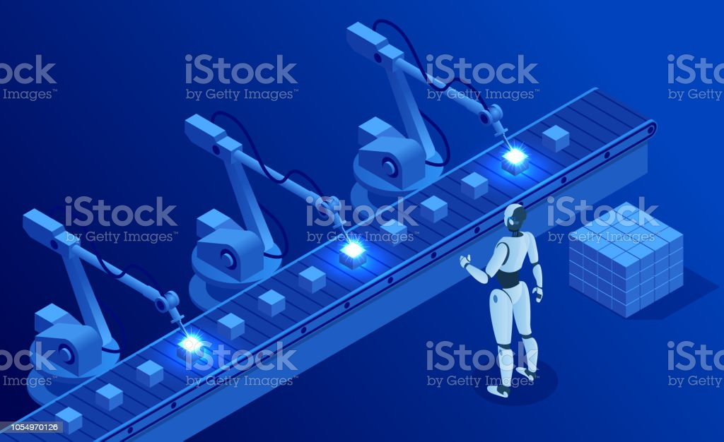 Isometric Industry 4.0 concept. Artificial intelligence. Digital manufacturing operation. Humanoid Robot with AI check and control welding robotics automatic arms machine. Vector illustration vector art illustration