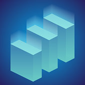 Isometric infographic elements, or graph. Vector