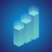 Isometric infographic elements, or graph. Vector.