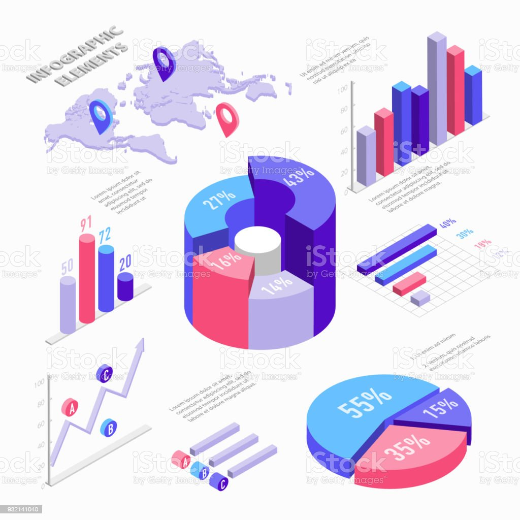 Isometric infographic elements with charts diagram pie chart world isometric infographic elements with charts diagram pie chart world map with pins and gumiabroncs Gallery