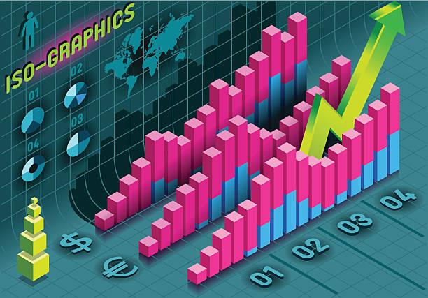 histogram isometric infografiki zestaw elementów w różnych kolorach - bar lokal gastronomiczny stock illustrations