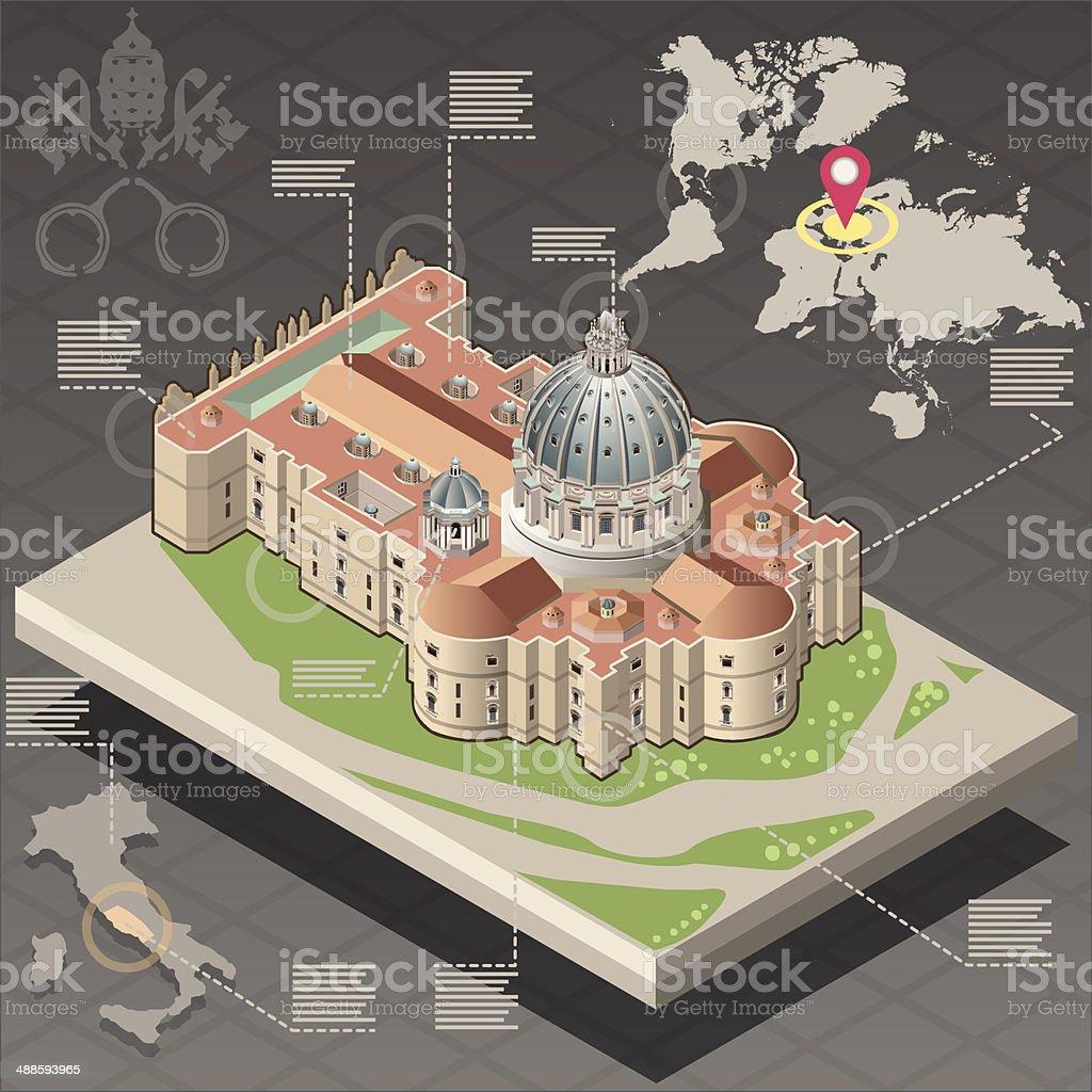 Isometric Infographic of Saint Peter of Vatican vector art illustration