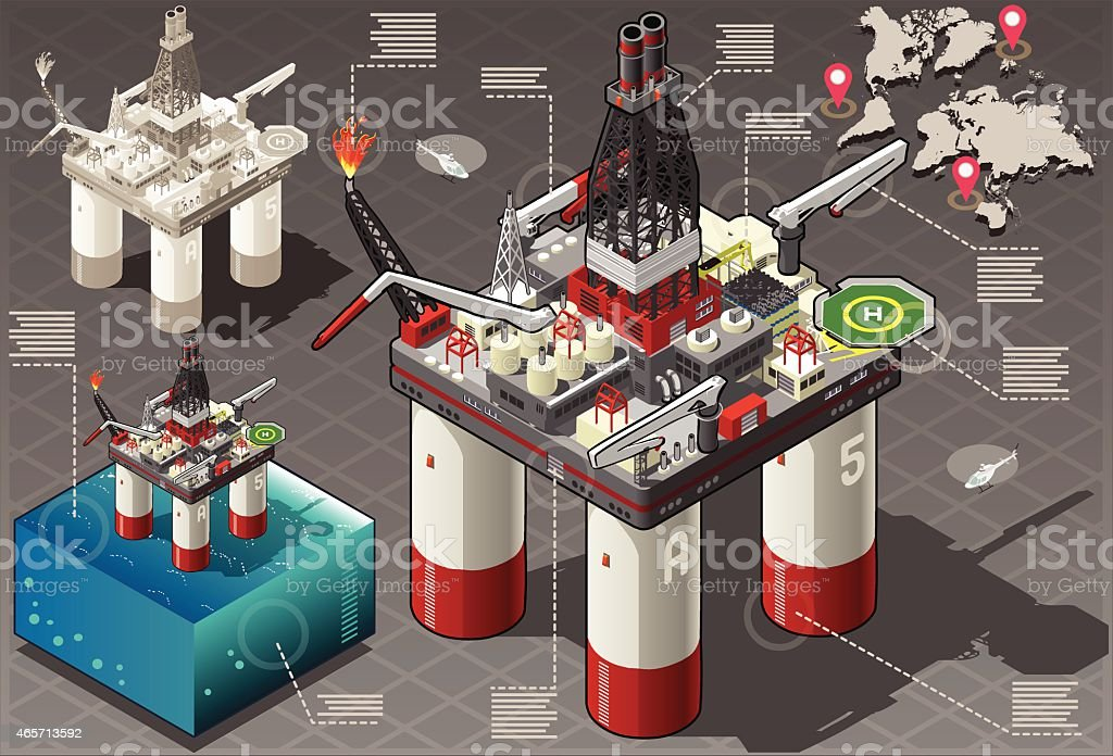 Isometric Infographic Rig Energy Set vector art illustration
