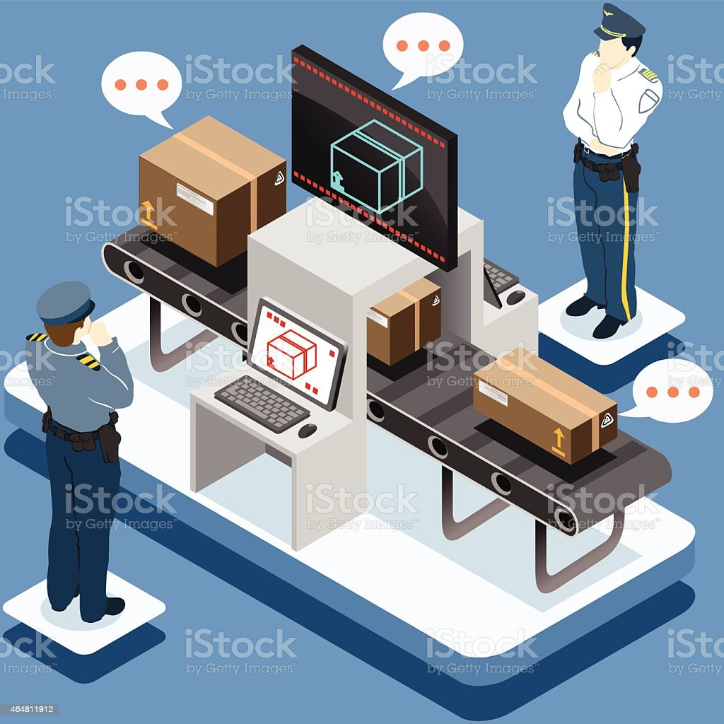 Isometric Infographic Security Check vector art illustration