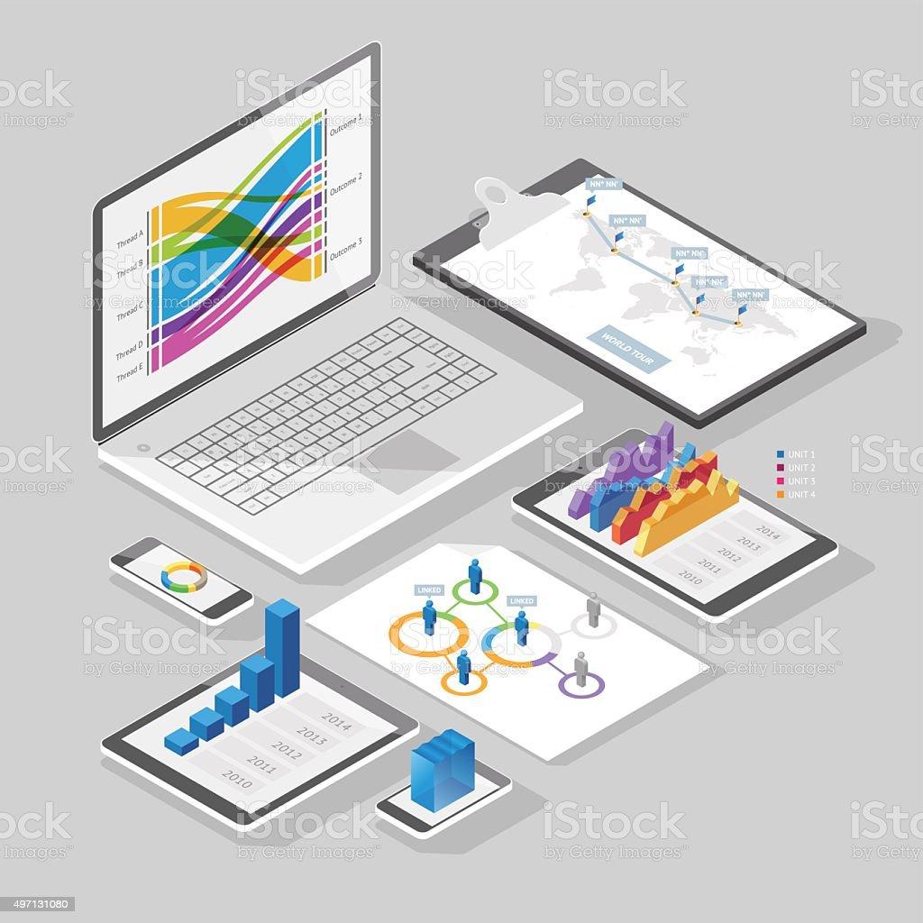Isometric infographics design elements vector art illustration