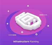 Infrastructure planning isometric design concept with modern style gradients. Vector design elements useful for web banner or poster.