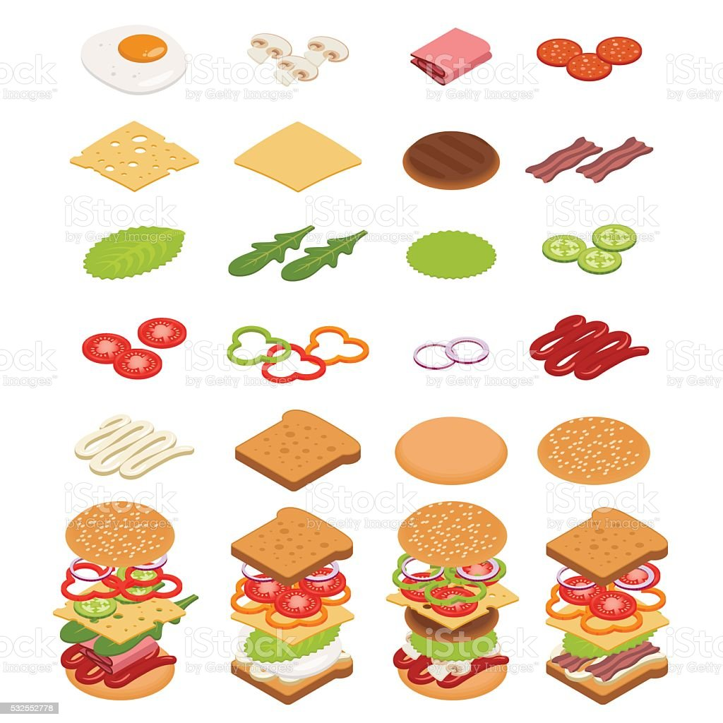 Isometric ingredients for burgers and sandwiches. vector art illustration