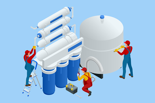 Isometric installing or repairing system of water filtration at home concept. Fix purification osmosis system. Drinking water. Sanitary work. Engineering networks in the house.