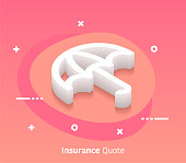 Insurance quote isometric design concept with modern style gradients. Vector design elements useful for web banner or poster.