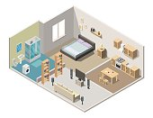 Isometric interior apartment vector illustration modern set of bathroom, kitchen, living room, bedroom.
