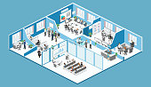 Isometric interior departments concept vector. conference hall, offices, workplaces