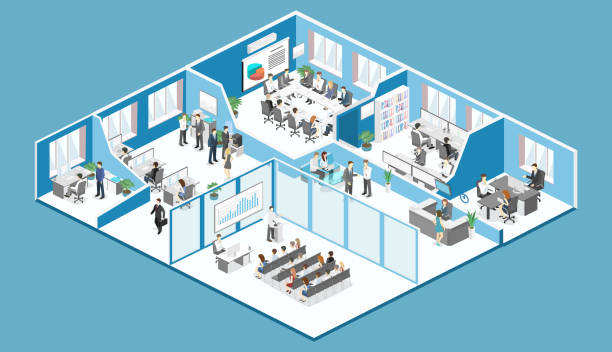 isometric interior departments concept vector. conference hall, offices, workplaces - office stock illustrations