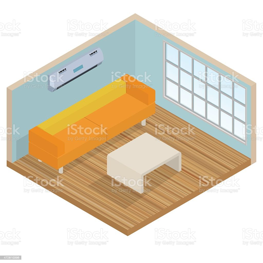 Isometric Innen Lounge Zimmer Stock Vektor Art und mehr Bilder von ...