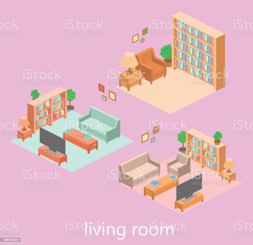 isometric interior of a living room isometric interior of a living room - immagini vettoriali stock e altre immagini di affari royalty-free
