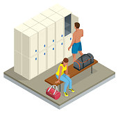 Isometric Interior of a locker and changing room. Vector changing locker room with shower enclosures benches and storage closets illustration.