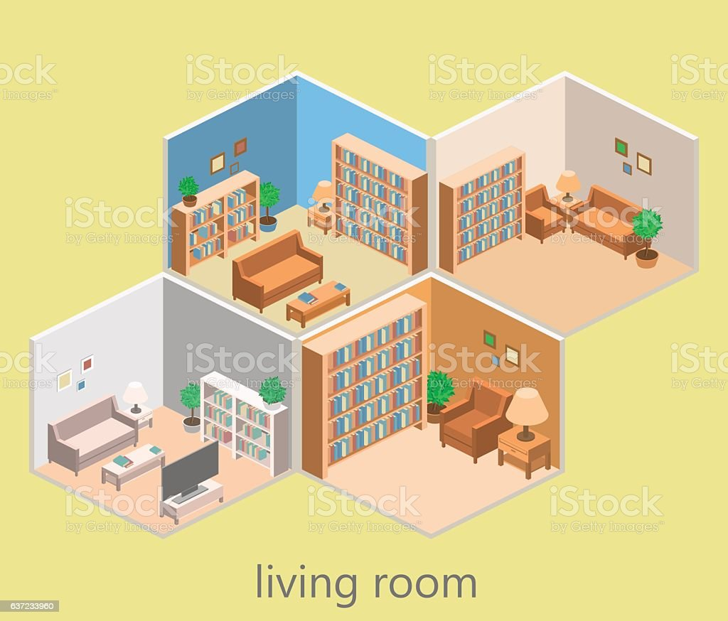 Isometric Interior Of A Modern Living Room 0