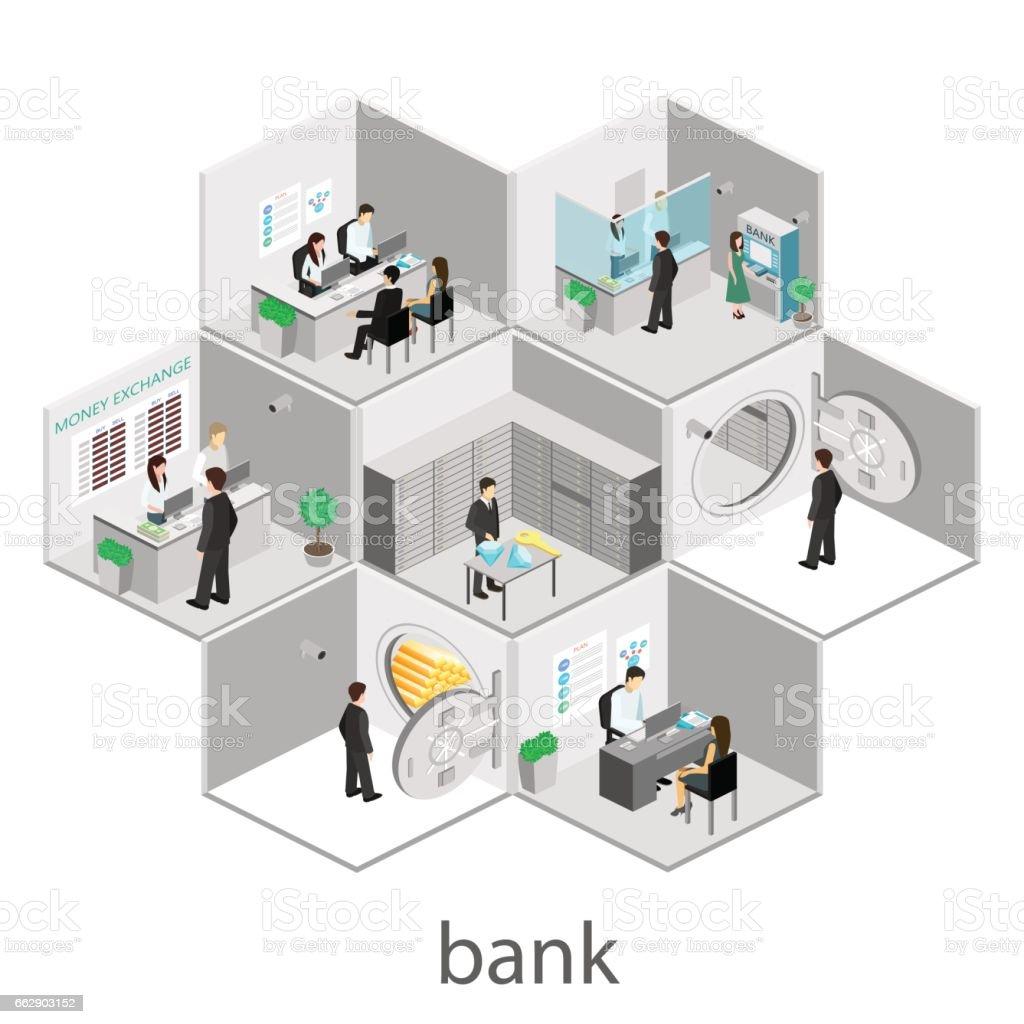 Isometric interior of bank vector art illustration