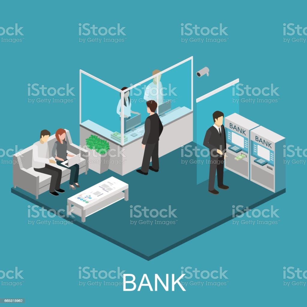 Isometric interior of bank vector art illustration