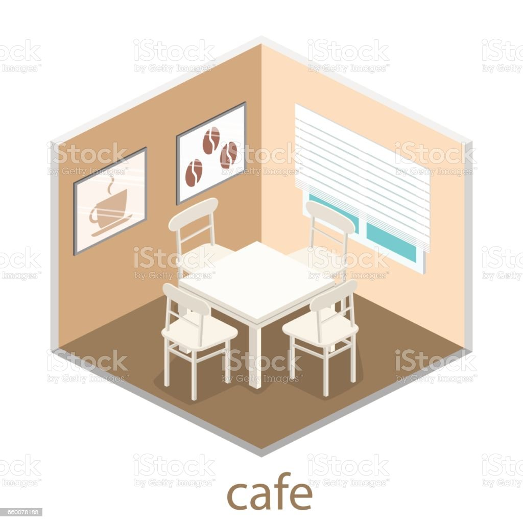 Isometric Interior Of Coffee Shop Flat 3d Isometric Design Interior Cafe Or Restaurant Stock Illustration Download Image Now Istock