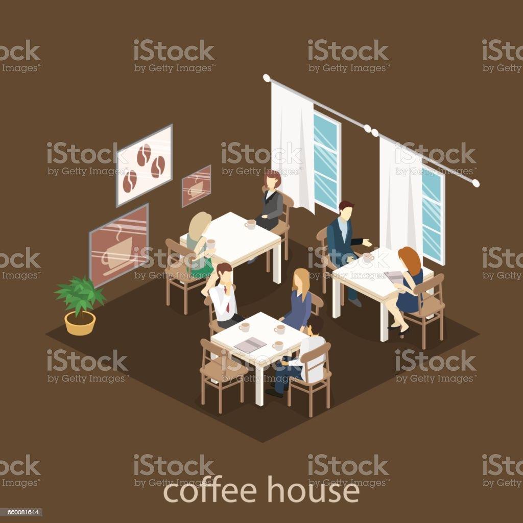 Isometrische Innere Des Coffeeshop Flache Isometrische 3ddesign ...
