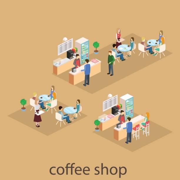 izometryczne wnętrze kawiarni. płaskie 3d izometryczne wnętrze kawiarni lub restauracji. ludzie siedzą przy stołach i jedzą. - bar lokal gastronomiczny stock illustrations